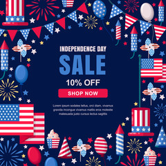 USA Independence Day sale vector banner template. Holiday navy frame background. 4 of July celebration concept.
