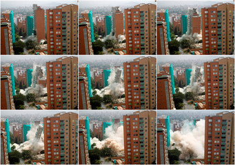 Combination picture showing the implosion of Bonavento building in Medellin