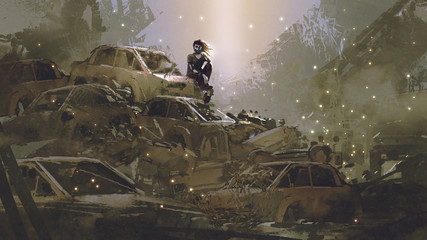 post-apocalyptic scene showing the woman with a mask sitting on pile of wrecked cars, digital art style, illustration painting