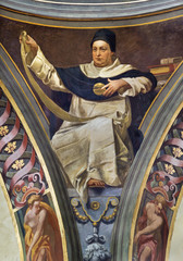 REGGIO EMILIA, ITALY - APRIL 12, 2018: The Fresco of Saint Thomas of Aquinas in cupola of church Basilica di San Prospero by  C. Manicardi, G. Ferrari and A. Lugli (1884-1885).