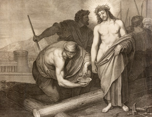 REGGIO EMILIA, ITALY - APRIL 12, 2018: The lithography Jesus before the crucifixion in church Chiesa di Santo Stefano by Benedetto Eredi (1750 - 1812).