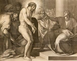 REGGIO EMILIA, ITALY - APRIL 12, 2018: The lithography Jesus judgment for Pilate (cross way) in church Chiesa di Santo Stefano by Benedetto Eredi (1750 - 1812).