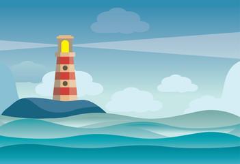 Lighthouse on rock stones island landscape - vector illustration