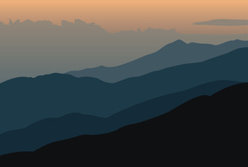 Sunset landscape with orange silhouettes of mountains - vector illustration