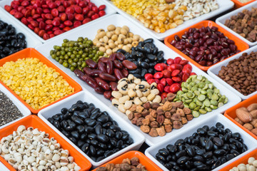 Different dried legumes family in ceramic bowl, Collection multi colour dried bean organic for eating healthy lifestyle