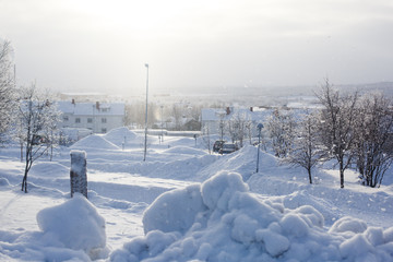 Winter view of Kiruna, the northernmost town in Sweden, province of Lapland, winter sunny picture