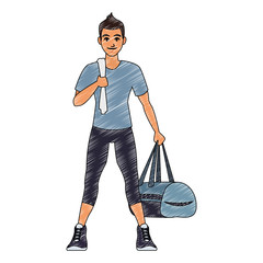 Fitness man with sport bag vector illustration graphic design