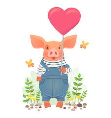 Cute pig holding heart
