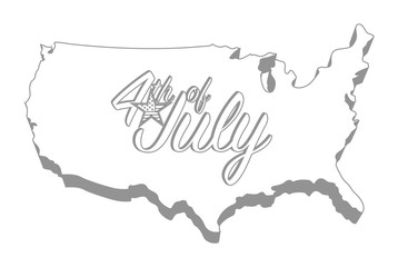 Forth of july map sign design graphic concept. Vector Illustration.