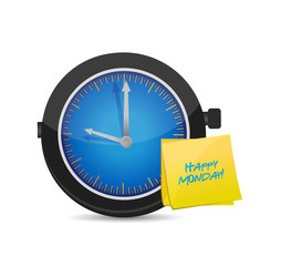 clock happy monday. Vector Illustration.
