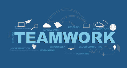 teamwork typography design graphic concept. Vector Illustration.
