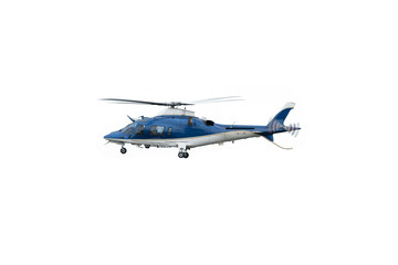 White and blue helicopter in flight, isolated on white