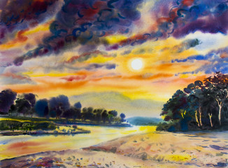 Painting colorful of  river mountain  and in sun evening