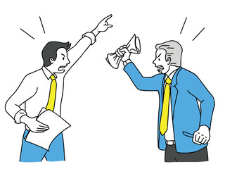 Businessman arguing and fighting