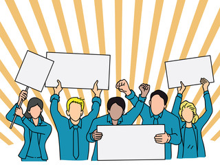 Group of office workers protest