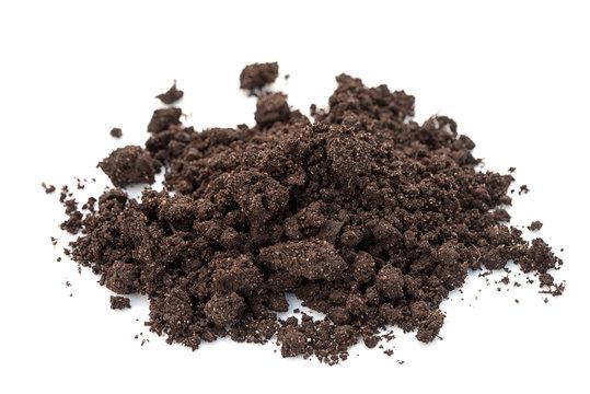 pile of chernozem soil isolated on white background