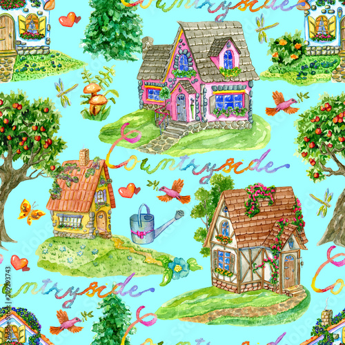 Seamless Background With Beautiful Cottages Garden Objects Trees And Lettering On Blue Vintage