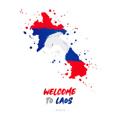 Welcome to Laos. Flag and map of the country