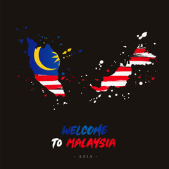 Welcome to Malaysia. Flag and map of the country