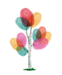 Wall Mural - Colorful finger print tree for ecology help