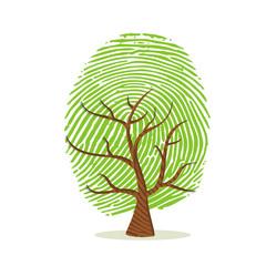 Wall Mural - Fingerprint tree of green human finger print