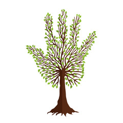 Tree with leaf hand shape for nature help team