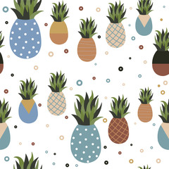 Retro pineapple fruit seamless pattern background