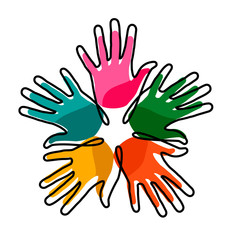 Wall Mural - Hands together concept for social help