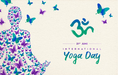 Yoga day card of girl in lotus pose for meditation