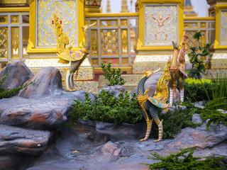 Bangkok Thailand, November 11, 2017 : Swan-like mythical creatures of Himvanta around The Royal crematorium of King Rama IV