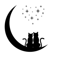 silhouettes of two cats on the moon and starry sky in the shape of a heart