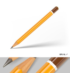 Realistic wood pencil isolated on white background. Vector illustration. Can be use for your design, presentation, promo, adv. EPS10.