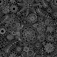 Black and white repeat pattern vector doodles, mandalas, shapes and flowers