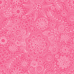 Pink and white repeat pattern vector doodles, mandalas, shapes and flowers