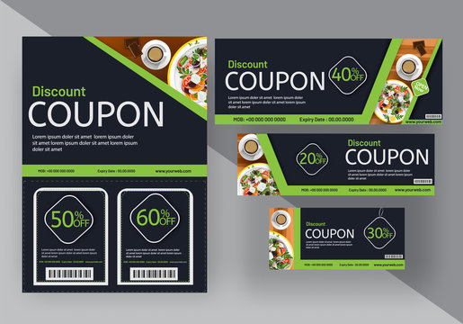 Discount coupon set for food cafe, or restaurants. Multiple discounts.