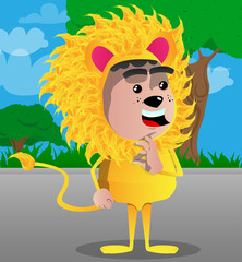 Boy dressed as lion showing ok sign. Vector cartoon character illustration.