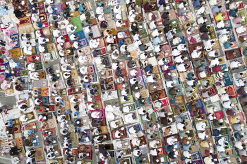 Thousands of muslims praying together on the street during Eid-ul Fitr day