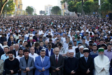Albanian Muslims celebrate Eid al Fitr, the end of the holy month of Ramadan, with prayers in Tirana