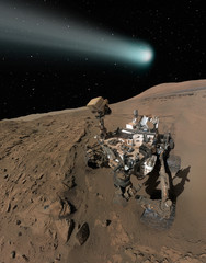 """Comet C/2013 A1 over the Martian landscape""""Elements of this image furnished by NASA""""."""
