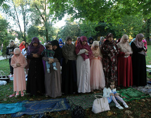 Albanian Muslims celebrate Eid al Fitr, the end of the holy month of Ramadan with prayers, in Tirana