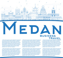 Outline Medan Indonesia City Skyline with Blue Buildings and Copy Space.
