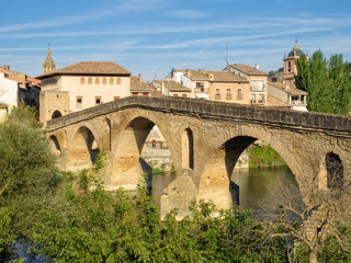 The 11th century Romanesque bridge over the Arga River is one of the emblems of the Way of Saint James - Puente La Reina, Navarre, Spain