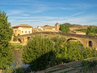 The 11th century Romanesque bridge over the Arga River is one of the emblems of the Way of Saint James - Puente La Reina, Navarre, Spain