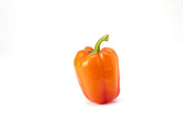 Orange bell pepper on white background