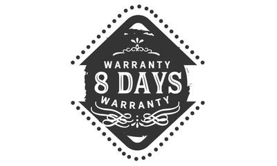 8 days warranty icon stamp