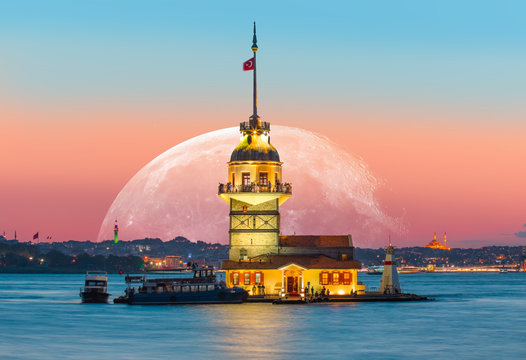 """Istanbul Maiden Tower with super moon (kiz kulesi) """"Elements of this image furnished by NASA """""""