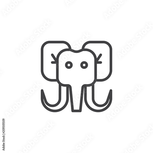 Mammoth head outline icon  linear style sign for mobile concept and