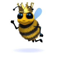 Vector 3d Funny cartoon honey bee character is wearing a gold crown