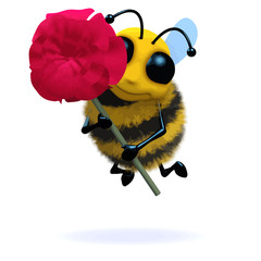 Vector 3d Bee holds a red rose