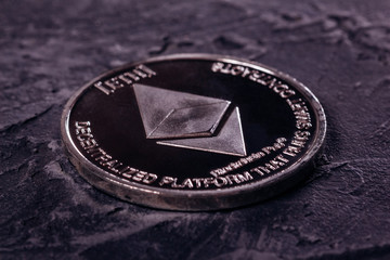 Ethereum close-up of the crypto currency